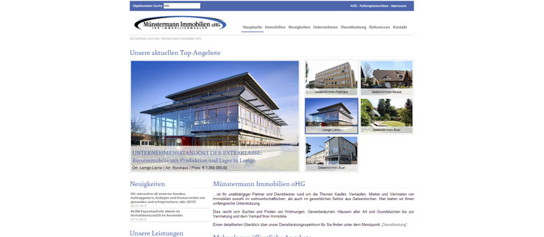 Münstermann Immobilien oHG – Website 2012